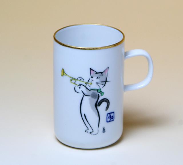 ネコのトランペット マグカップ 音楽雑貨 雨田光弘の描くネコの世界