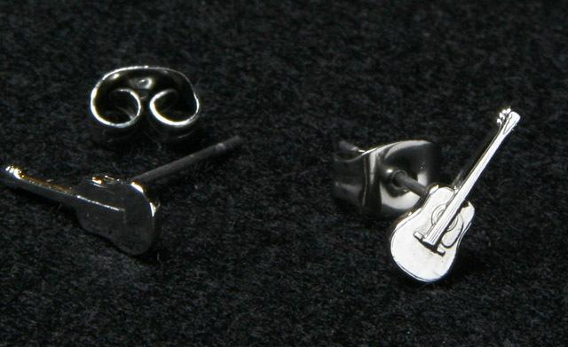 シルバーミニピアス SV992 フォークギター 音楽雑貨