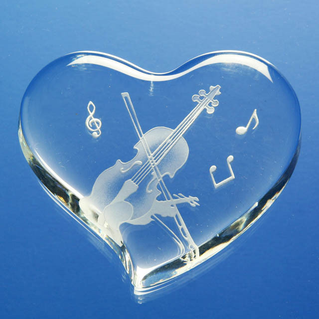 ハート ガラス ペーパーウェイト ヴァイオリン 弦楽器 音楽雑貨 ギフト