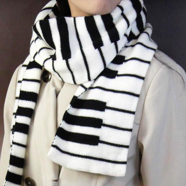 ジャカード織 ピアノ鍵盤 マフラー 音楽雑貨 音楽グッズ