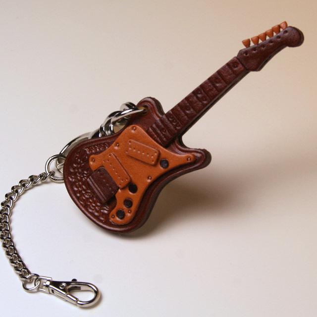 エレキギター 本革製 バッグチャーム 音楽雑貨 音楽グッズ 音楽ギフト 楽器グッズ