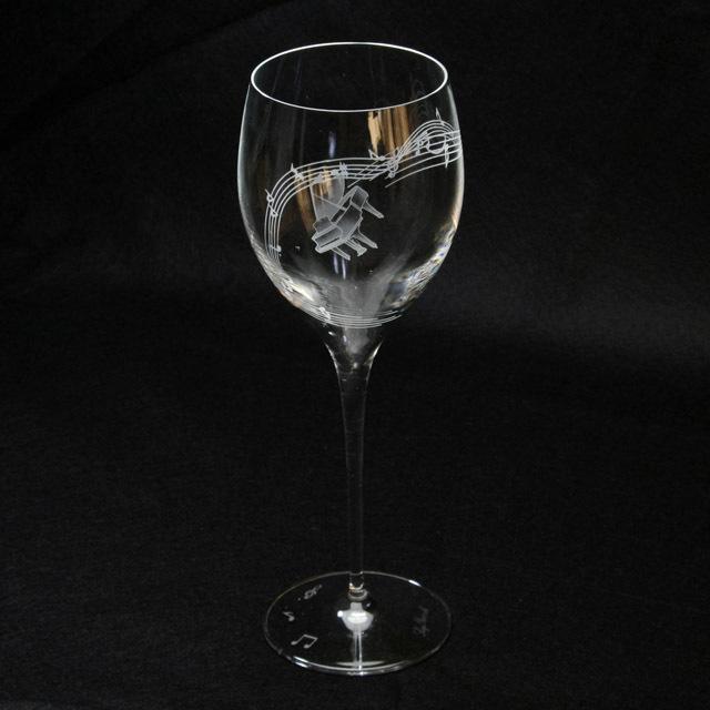 クリスタル ワイングラス グランドピアノ 音符 楽譜 音楽雑貨 音楽グッズ 音楽ギフト