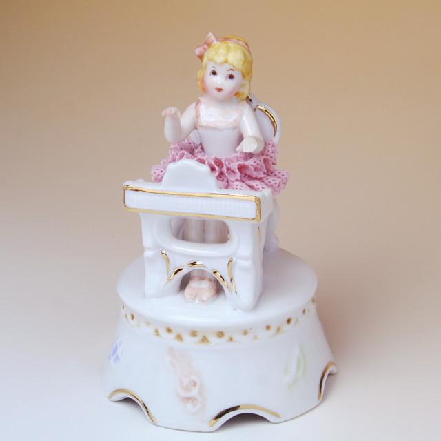 レース人形 ピアノ 鍵盤 piano pf 楽器のオルゴール 音楽雑貨 音楽ギフト 音楽グッズ