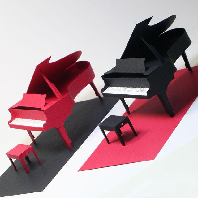 グランドピアノ ペーパークラフト ペパクラミニ 鍵盤 音楽ギフト 音楽雑貨 音楽グッズ
