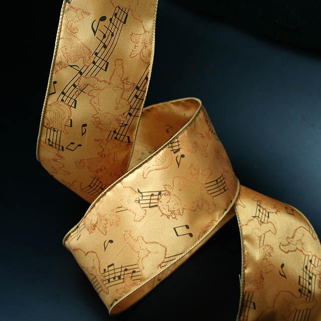 Wired Ribbon ワイヤーリボン 楽譜 音符 ト音記号 音楽雑貨 音楽小物 音楽グッズ