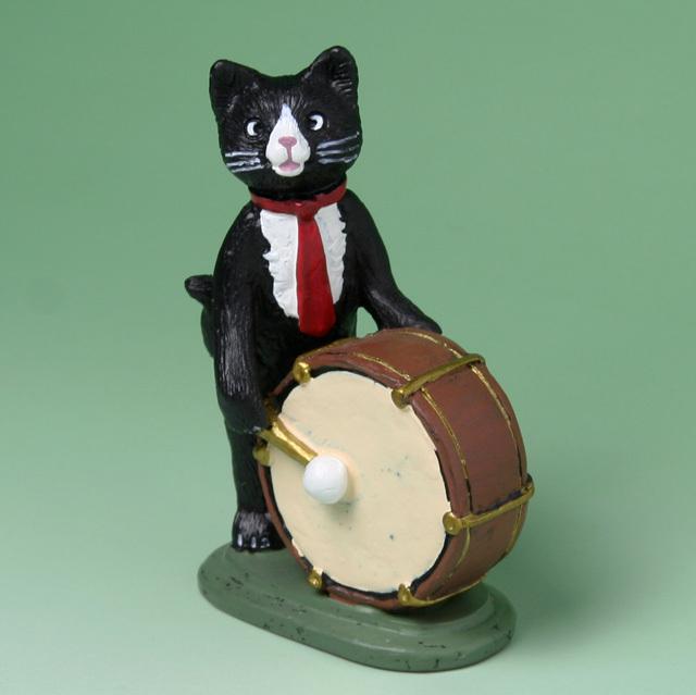 黒ネコ オーケストラ フィギュア バスドラム 音楽雑貨 音楽グッズ 音楽ギフト