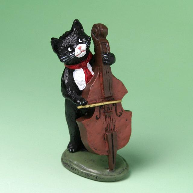 黒ネコ オーケストラ フィギュア コントラバス 音楽雑貨 音楽グッズ 音楽ギフト