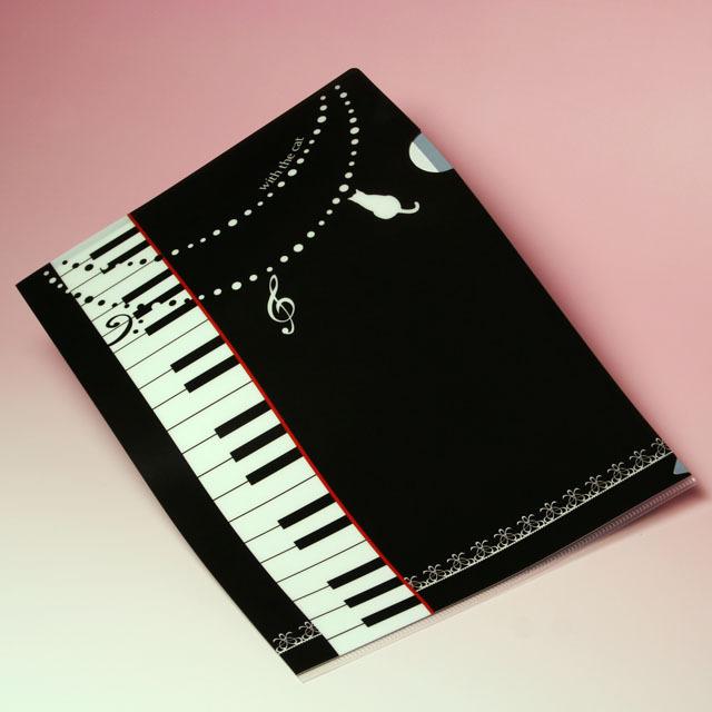 ピアノ 鍵盤 ねこ クリアファイル クリアフォルダ 音楽雑貨 音楽グッズ 音楽ギフト