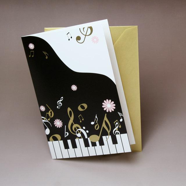 グリーティングカード ピアノ 鍵盤 音楽 楽譜 音楽雑貨 音楽グッズ 音楽ギフト