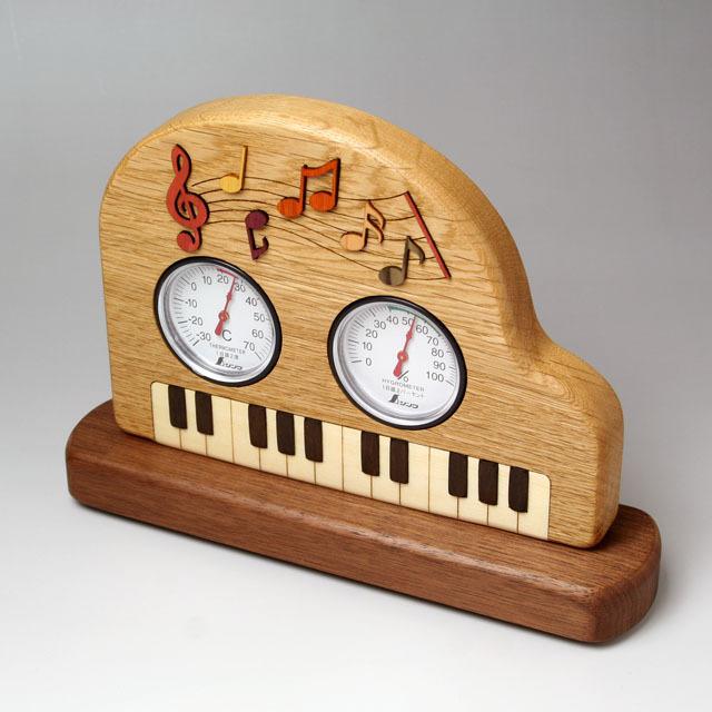 温度計 湿度計 グランドピアノ 鍵盤 ト音記号 音符 音楽雑貨 音楽ギフト 音楽グッズ