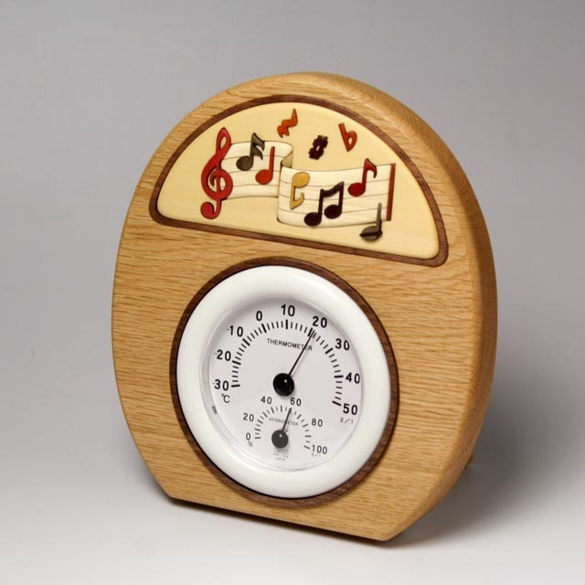 ト音記号 楽譜 寄せ木 象嵌 温湿度計 音楽雑貨 音楽グッズ 音楽ギフト