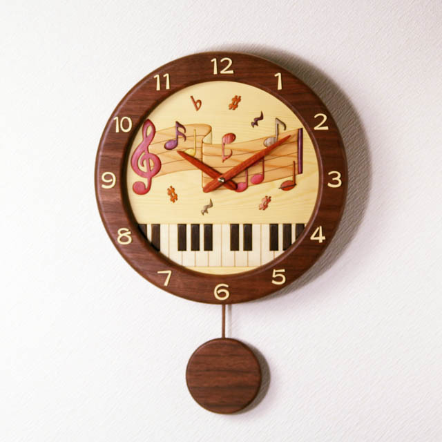 ト音記号 楽譜 寄せ木 象嵌 振り子時計 音楽雑貨 音楽グッズ 音楽ギフト