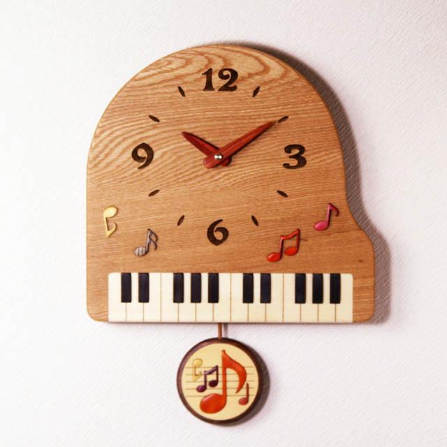 グランドピアノ 音符 寄せ木 象嵌 振り子時計 音楽雑貨 音楽グッズ 音楽ギフト