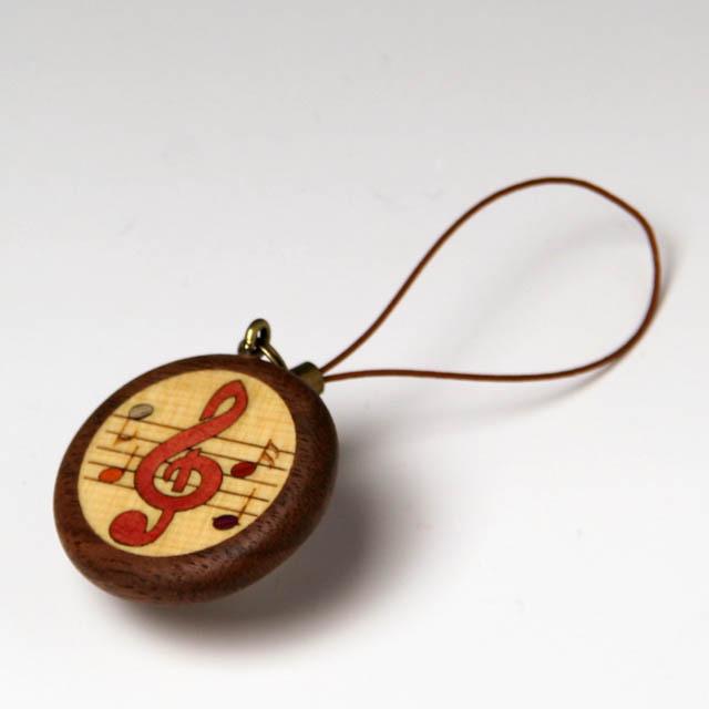 ト音記号 寄せ木 象嵌 携帯ストラップ 音楽雑貨 音楽グッズ 音楽小物