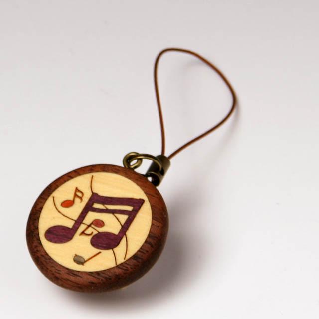 2連16分音符 寄せ木 象嵌 携帯ストラップ 音楽雑貨 音楽グッズ 音楽小物