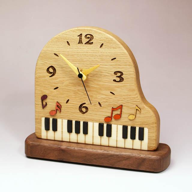 寄木象嵌 グランドピアノ 置時計 音楽雑貨 音楽グッズ