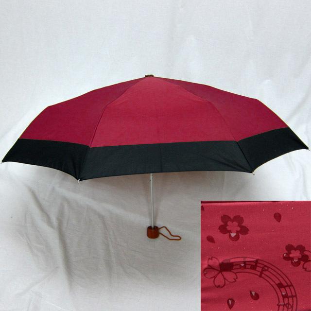 雨に浮き出る音符桜 折り畳み傘 音楽雑貨 音楽グッズ 音楽小物 音楽ギフト
