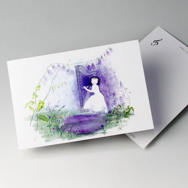 唐沢静 ポストカード 絵葉書 音楽雑貨 Little Harpist