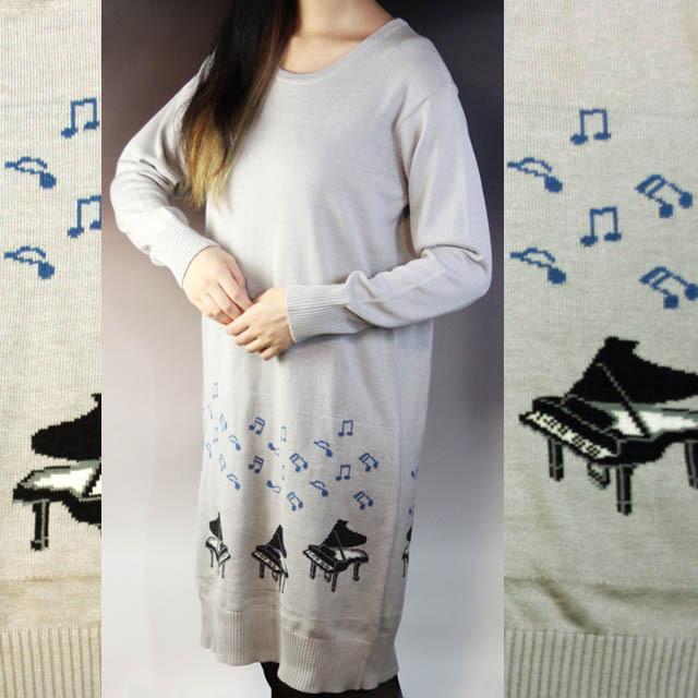 グランドピアノ ジャカード織 ワンピース 音楽雑貨 音楽グッズ