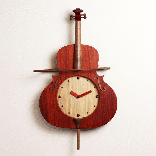 チェロ 振り子時計 銘木 音楽雑貨 音楽ギフト