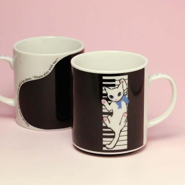マグカップ 鍵盤 白猫 音楽雑貨 音楽グッズ