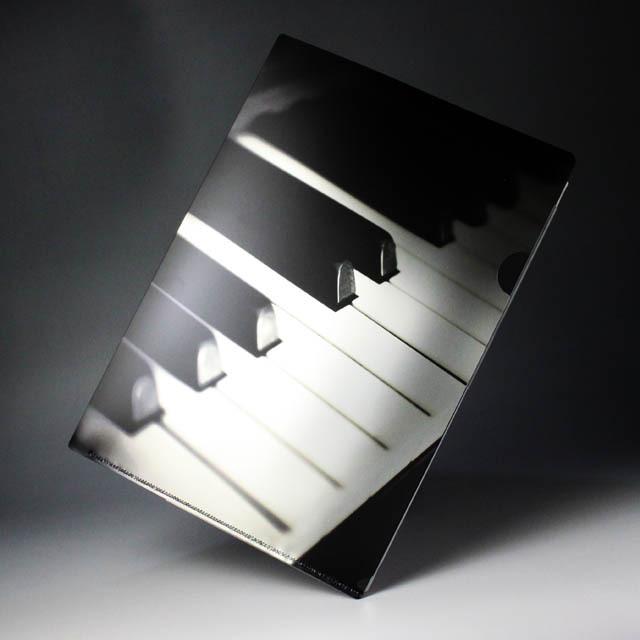 クリアファイル クリアフォルダ 音楽雑貨 音符 ピアノ鍵盤