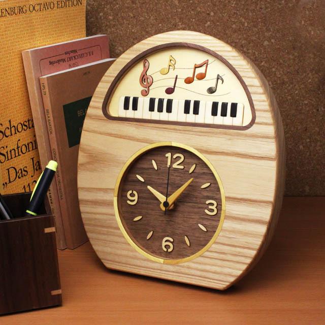 寄木象嵌 音楽 鍵盤 時計 置・掛兼用 音楽雑貨