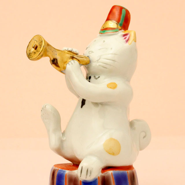 九谷焼 猫マーチング トランペット 音楽雑貨 音楽グッズ