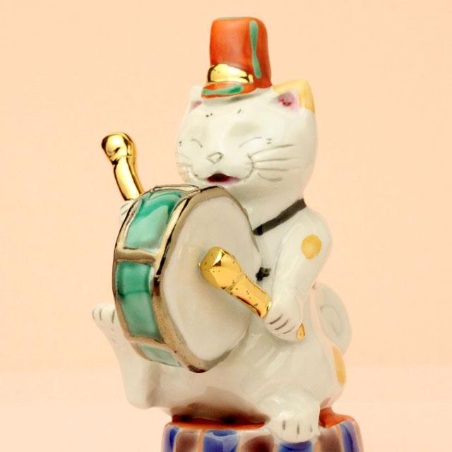 九谷焼 猫マーチング バスドラム 音楽雑貨 音楽グッズ