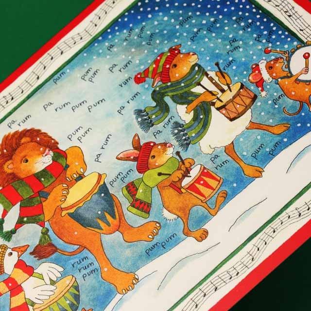 クリスマスカード,ドラムと動物たち,音楽雑貨,音楽グッズ