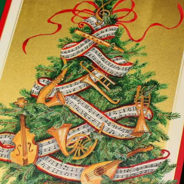 クリスマスカード,ツリーと楽器たち,音楽雑貨,音楽グッズ