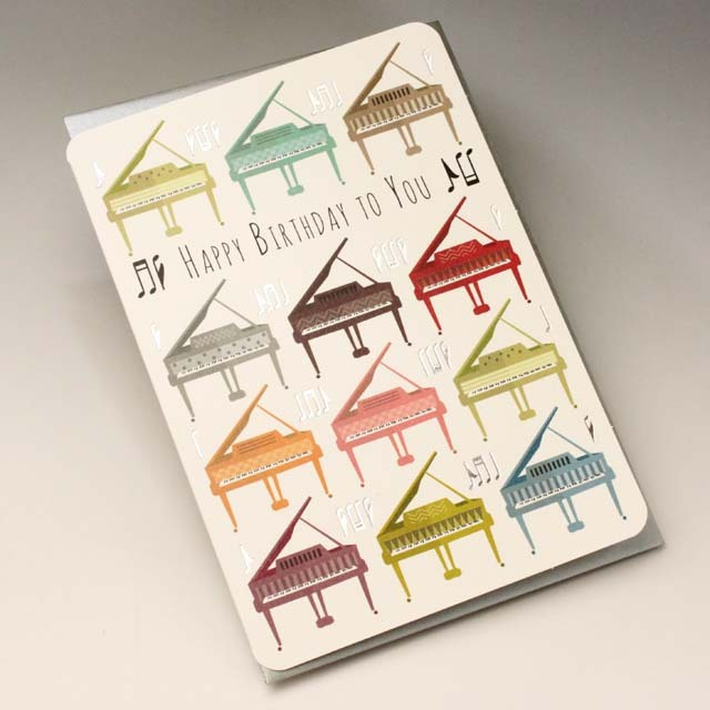 誕生カード バースデーカード グランドピアノ 音楽雑貨