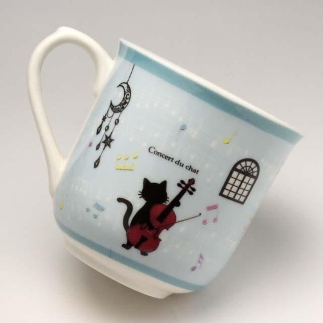 黒猫のソリスト チェロ マグカップ 音楽雑貨 音楽グッズ