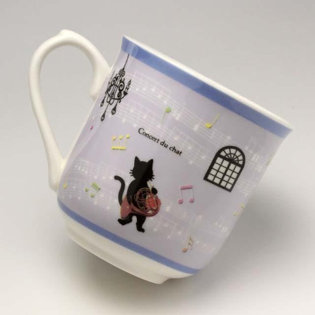 黒猫のソリスト ホルン マグカップ 音楽雑貨 音楽グッズ