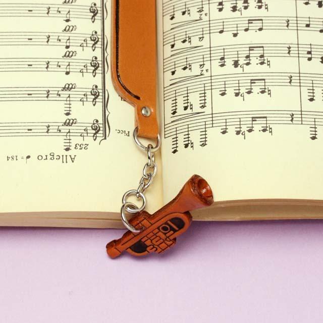 本革製 ブックマーク トランペット 音楽雑貨 音楽グッズ