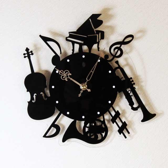 silhouette musique 掛時計 音楽雑貨 音楽ギフト