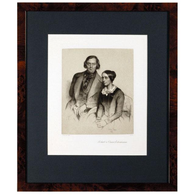 シューマンとクララ ドイツ 銅版画 額装 音楽ギフト