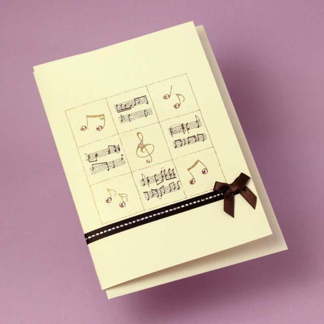 多目的カード Swarovski ト音記号 音楽雑貨