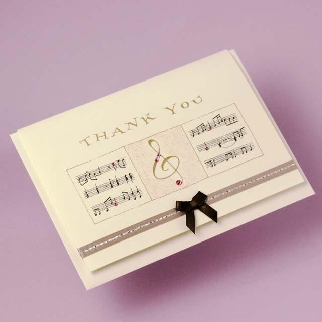 Thank You カード Swarovski ト音記号 音楽雑貨