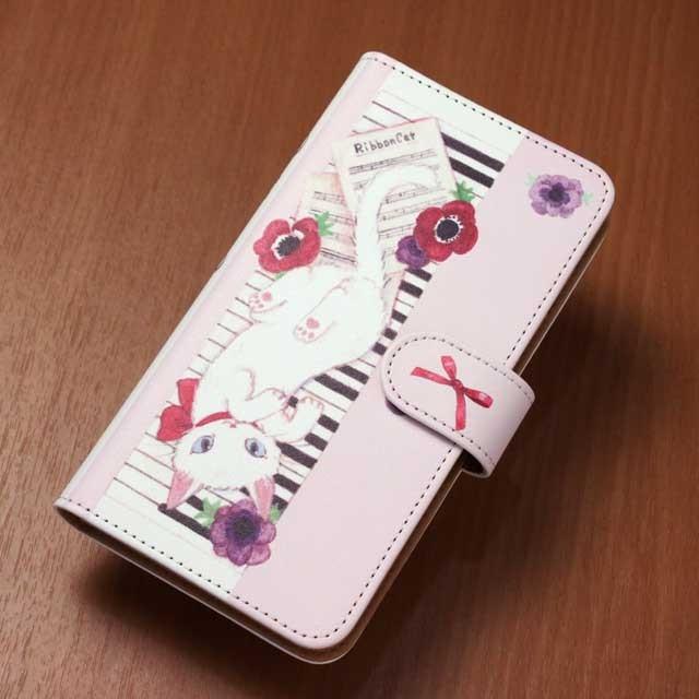 手帳型スマホケース ピアノ鍵盤 リボンキャット 音楽グッズ 音楽雑貨