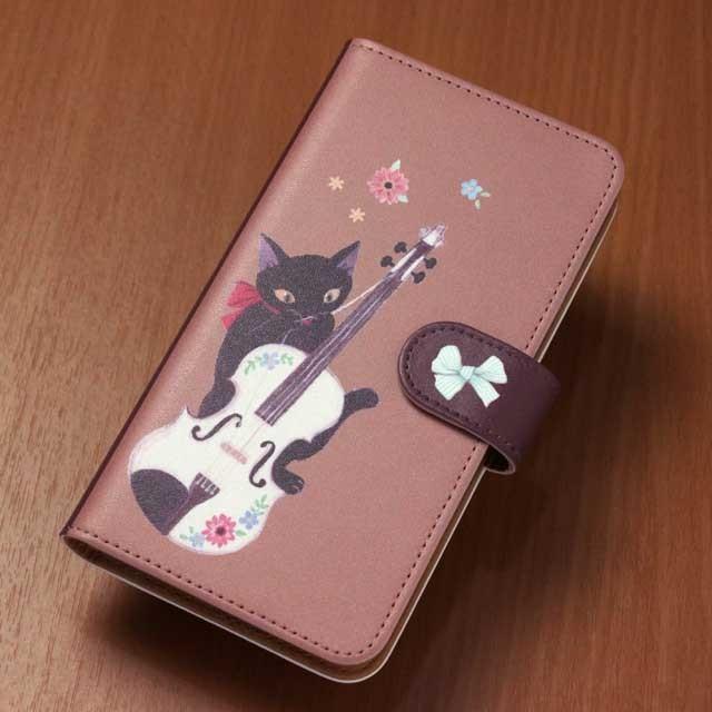 手帳型スマホケース ヴァイオリン リボンキャット 音楽グッズ 音楽雑貨