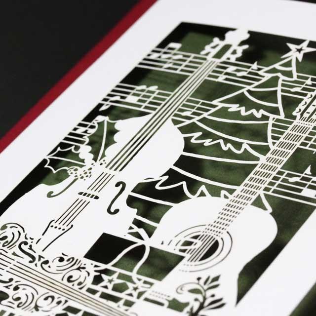 クリスマスカード 切り絵 コントラバス ヴァイオリン ギター 音楽雑貨 音楽グッズ