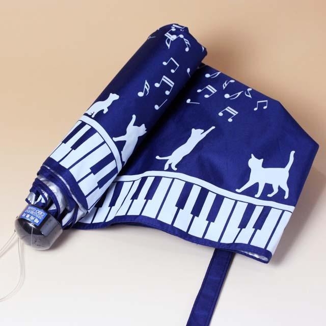 晴雨兼用 折りたたみ傘 ピアノ鍵盤 音符 音楽雑貨