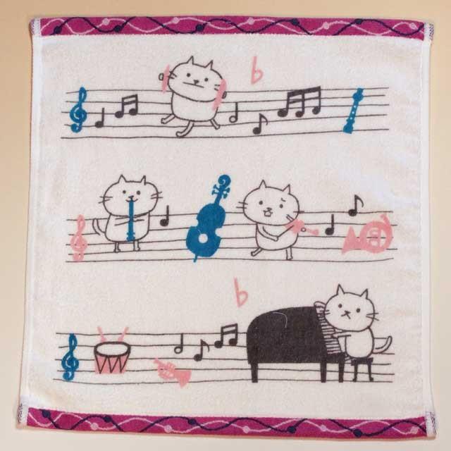 音楽雑貨 ゲストタオル ShinziKatoh パイル シャーリング加工 楽器 ピアノ ヴァイオリン ホルン