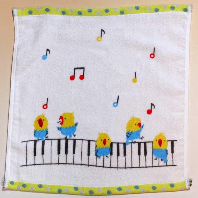 音楽雑貨 ゲストタオル ShinziKatoh パイル シャーリング加工 小鳥 合唱 鍵盤 音符