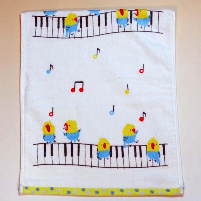 音楽雑貨 フェイスタオル ShinziKatoh パイル シャーリング加工 小鳥 合唱 鍵盤 音符