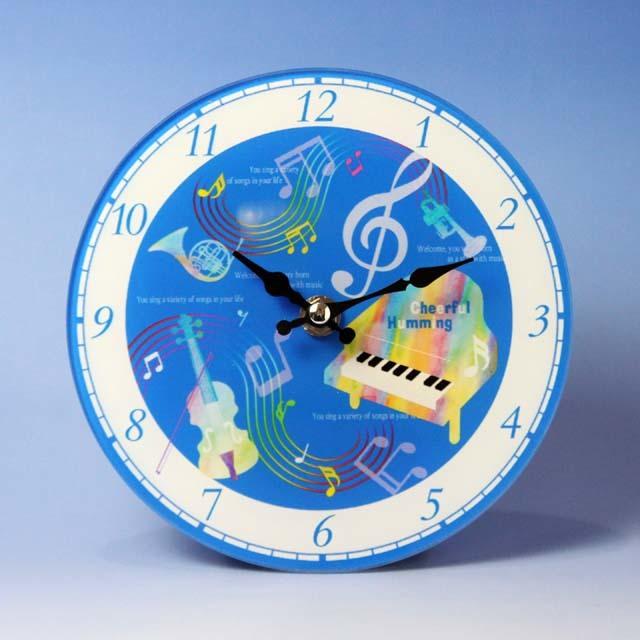 ガラス掛置時計 グランドピアノ ヴァイオリン ホルン トランペット 音楽雑貨 音楽グッズ