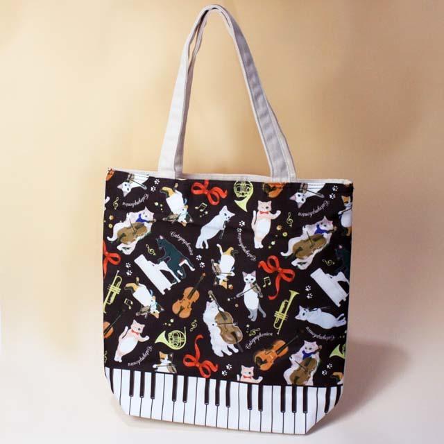 Cat Symphonica ピアノ総柄 トートバッグ 音楽雑貨