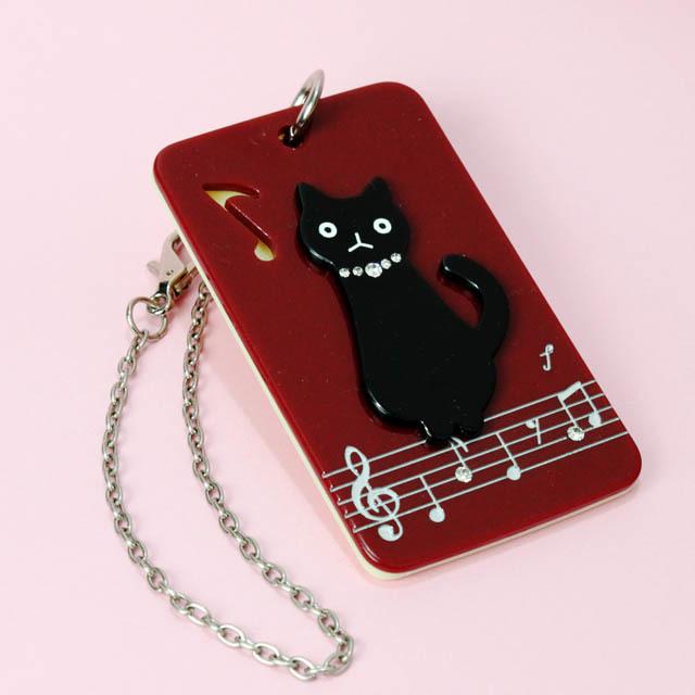 パスケース 猫と楽譜 音楽雑貨 音楽グッズ