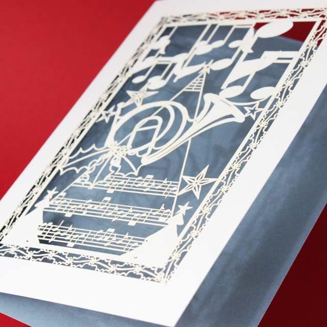 クリスマスカード ホルン 音楽雑貨